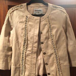 authentic Chanel tan peach leather jacket sz 38